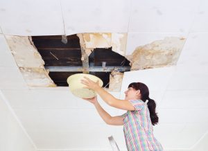 Woman uses a bowl to catch water after a bad roof leak collapses her ceiling