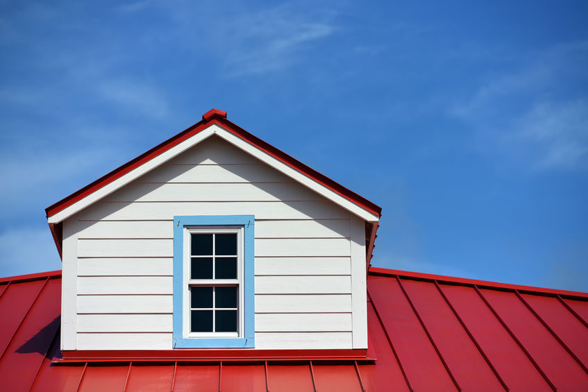 Wide Shot of Red Metal Roofing