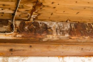 Wooden beams are damaged